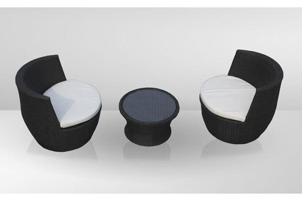 balkonset 3 teilig rattan grau inkl sitzkissen in dachsbach gartenm bel kaufen und. Black Bedroom Furniture Sets. Home Design Ideas