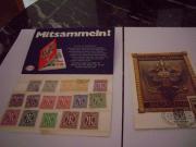 Briefmarken und Postkarte