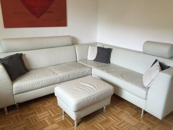 Couch ecksofa sitzgruppe in wei echtleder in altach for Ecksofa polster