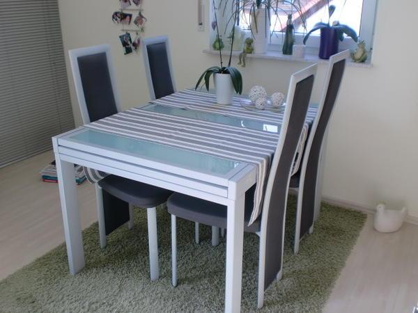 esstisch milchglas 120x90cm ausziehbar 4 st hle in. Black Bedroom Furniture Sets. Home Design Ideas