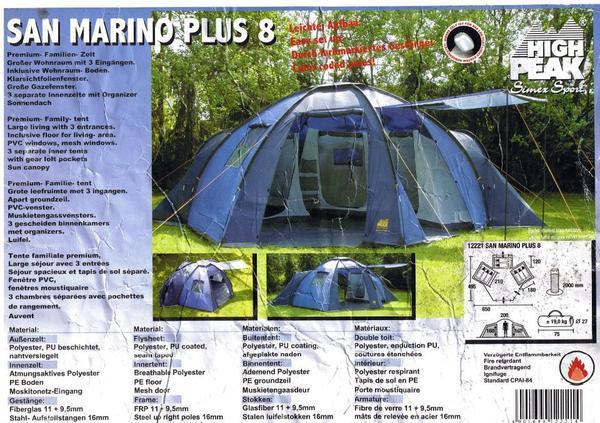 Zelt San Marino Plus 8 High Peak : Wir verkaufen ein personen zelt in sehr gutem zustand