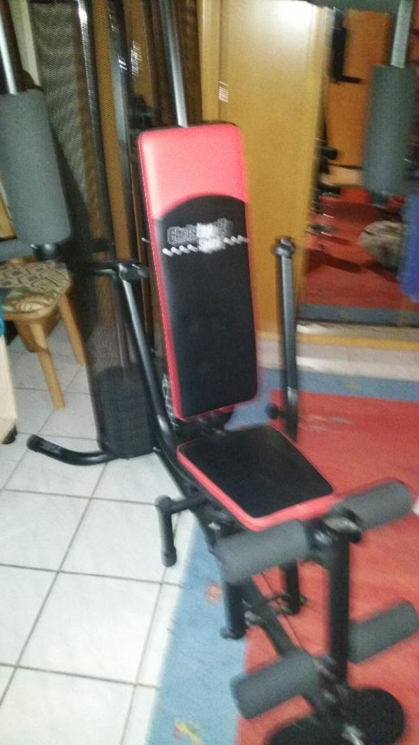 selten benutzte fitness station gezieltes kraft und muskeltraining mit 8 steckgewichte ca. Black Bedroom Furniture Sets. Home Design Ideas