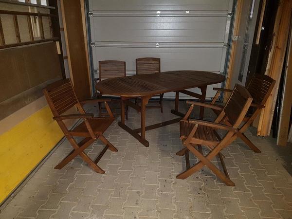 garten set tisch mit st hle eiche in bietigheim gartenm bel kaufen und verkaufen ber private. Black Bedroom Furniture Sets. Home Design Ideas