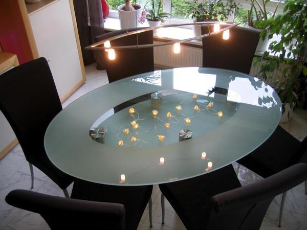 Hochwertiger ovaler glastisch 160 x 108 esszimmertisch in for Ovaler glastisch