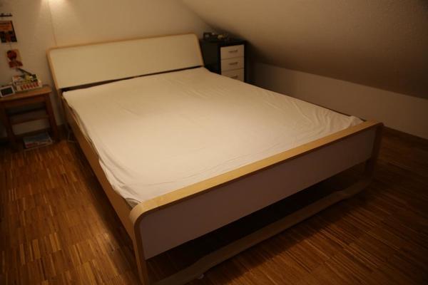 ikea bett anes 140x200 birke multiplex mit lattenrost in. Black Bedroom Furniture Sets. Home Design Ideas
