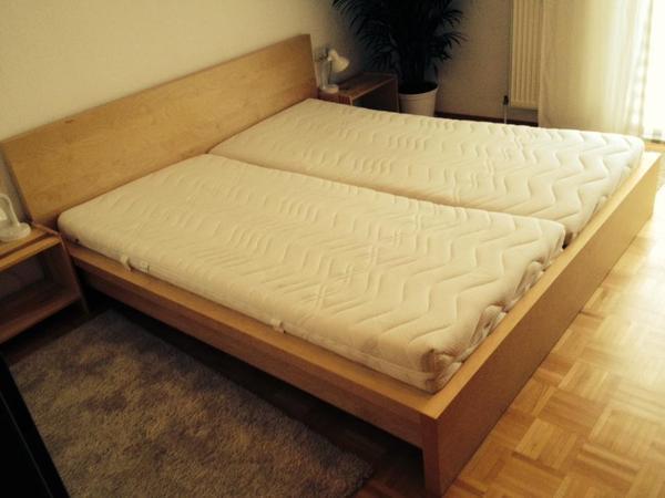 ikea bett malm buch mit 2 lattenrosen und 2 super. Black Bedroom Furniture Sets. Home Design Ideas