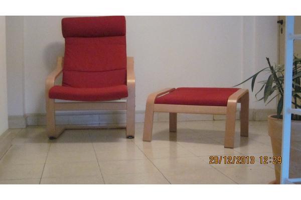 ikea sessel po ng rot mit fu teil in bielefeld polster sessel couch kaufen und verkaufen. Black Bedroom Furniture Sets. Home Design Ideas