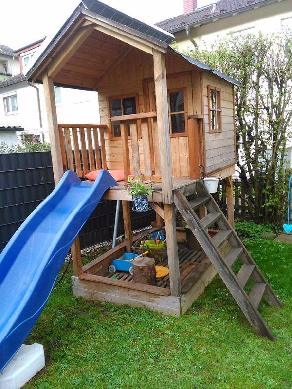 kletterhaus kindergartenhaus holz mit rutsche in. Black Bedroom Furniture Sets. Home Design Ideas