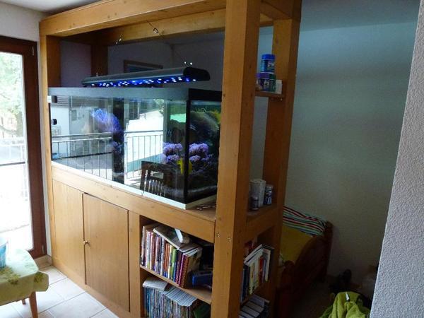 komplettes raumteiler meerwasseraquarium mit besatz led beleuchtung und top zubeh r in. Black Bedroom Furniture Sets. Home Design Ideas