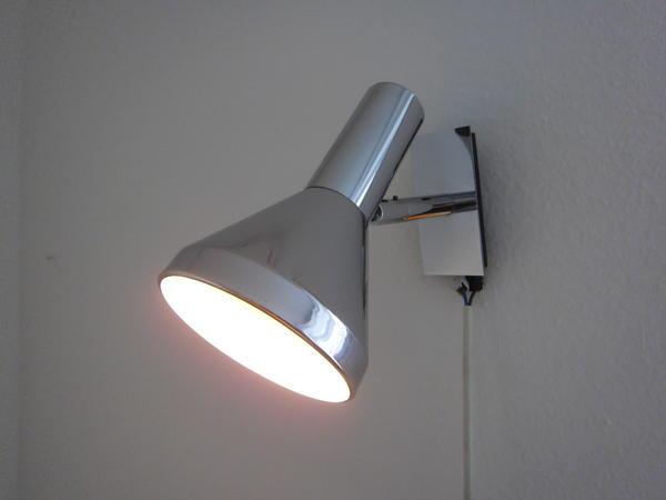 Lampe Leuchte Wandlampe Strahler Design 70er Jahre Chrom