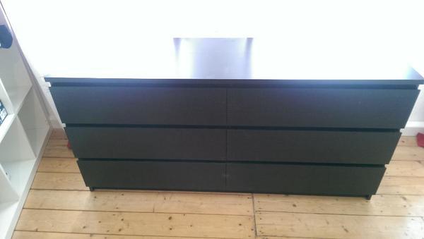 malm doppelkommode 6 schubladen schwarzbraun in n rnberg ikea m bel kaufen und verkaufen ber. Black Bedroom Furniture Sets. Home Design Ideas