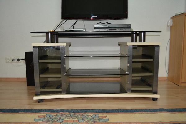 moderner tv tisch schwarz holz glas in lollar phono tv videom bel kaufen und verkaufen. Black Bedroom Furniture Sets. Home Design Ideas