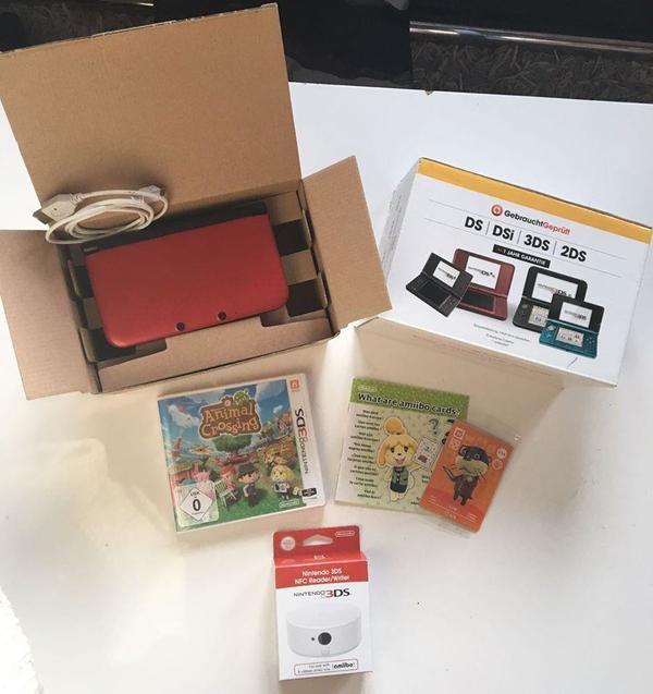 nintendo 3ds xl konsole rot ladekabel animal crossing. Black Bedroom Furniture Sets. Home Design Ideas