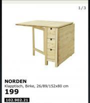 ikea norden klapptisch haushalt m bel gebraucht und. Black Bedroom Furniture Sets. Home Design Ideas