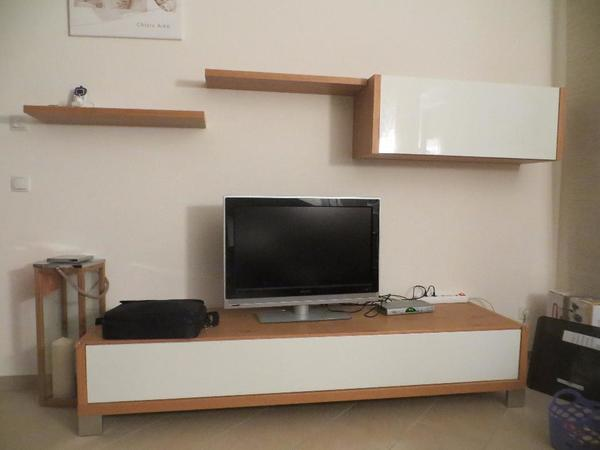 now by h lsta tv bank lack weiss eiche in bensheim phono tv videom bel kaufen und. Black Bedroom Furniture Sets. Home Design Ideas