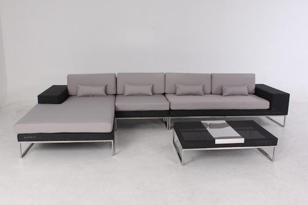 Polyrattan Loungeset Lineo schwarz, Edelstahl mit Aluminiumgestell