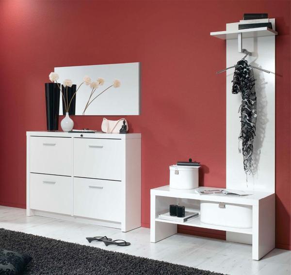 schuhschrank und garderobe mit schuhbank wei in. Black Bedroom Furniture Sets. Home Design Ideas