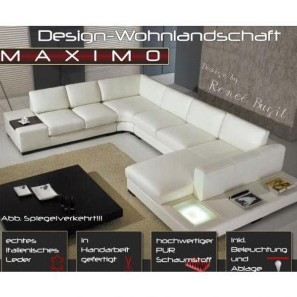 sofa couch echtes rindsleder wohnlandschaft in creme weiss in wedel polster sessel couch. Black Bedroom Furniture Sets. Home Design Ideas