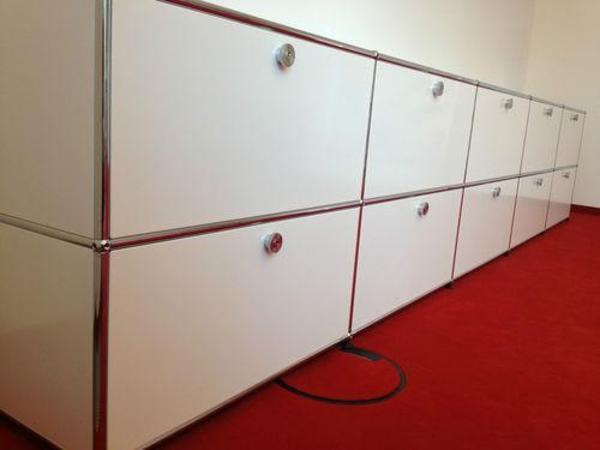 usm haller sideboard in weiss 10x klappfach b 377 x t 52. Black Bedroom Furniture Sets. Home Design Ideas