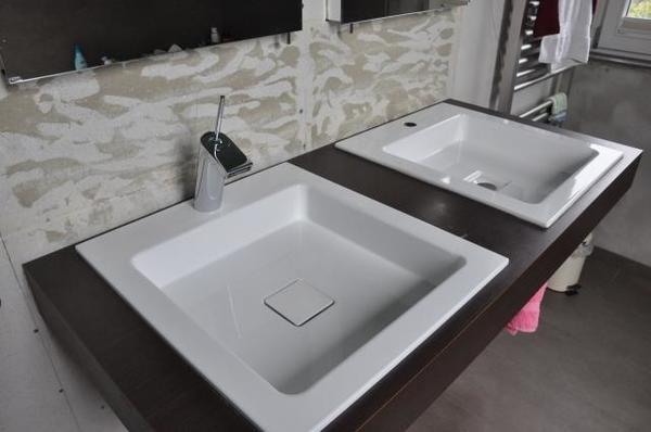 waschtisch mit 2 einbaubecken alape eb q450h und 2 konsolentr ger von duravit in gr nstadt bad. Black Bedroom Furniture Sets. Home Design Ideas
