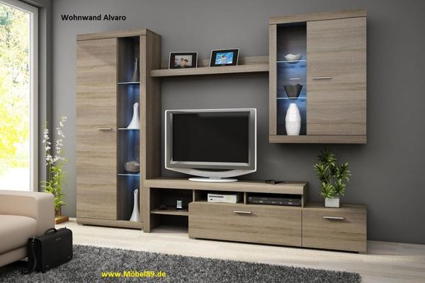 wohnwand alvaro mit led beleuchtung wohnzimmerschrank schrankwand in eching wohnzimmerschr nke. Black Bedroom Furniture Sets. Home Design Ideas