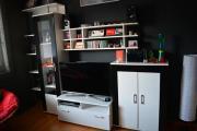 Wohnwand weiß/schwarz