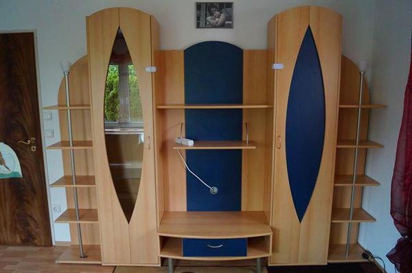 Wohnzimmer Anbauwand buche/blau in Altdorf ...