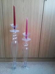 2 große Kerzenständer aus Glas