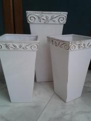 3 Blumenvasen in weiß