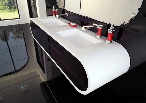 Corian Design Waschtisch, Aufsatzwaschbecken, Mineralwerkstoff,HI ... | {Doppelwaschtisch aufsatzwaschbecken 61}