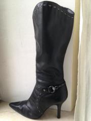 Damen Stiefel echt Leder schwarz