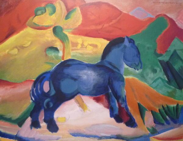 das blaue pferd marc limitierte genehmigte kopie vom original in berlin kunst gem lde. Black Bedroom Furniture Sets. Home Design Ideas