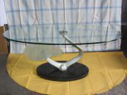 Designer-Glastisch mit Marmorsockel