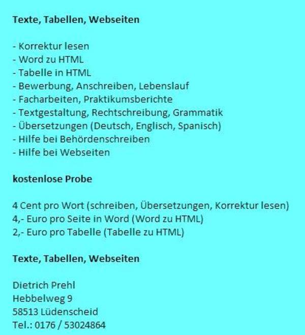 Deutsch, Englisch, Spanisch, 4 Cent Pro Wort, Hilfe Bei Referaten