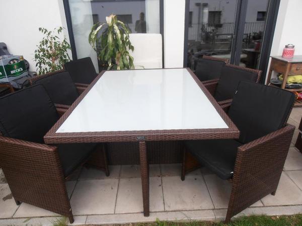 gartenmöbel polyrattan essgruppe + tisch mit 6 stühlen & 4 hocker, Terrassen ideen