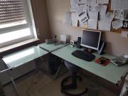 Glas Schreibtisch Winkelkombination