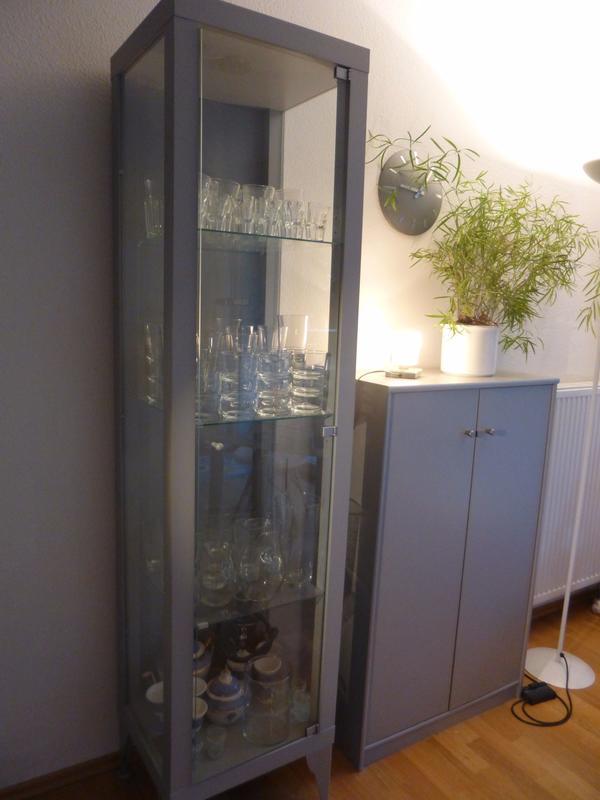 glasvitrine gl serschrank grau silber glas ikea in stuttgart ikea m bel kaufen und verkaufen. Black Bedroom Furniture Sets. Home Design Ideas