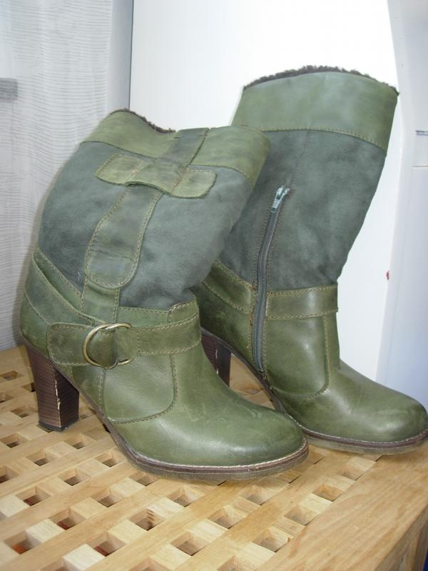 grüne Lederstiefel Gr 41