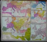 Historische Schulwandkarte Europa
