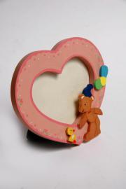 Holzbilderrahmen-Foto- Kinder--rosa-Herz