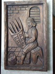 Holzschnitzerei-Bild aus