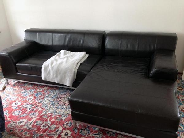 ikea kramfors 2er sofa mit recamiere braun leder in m nchen polster sessel couch kaufen und. Black Bedroom Furniture Sets. Home Design Ideas