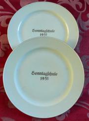 Jahresteller - Sonntagsschule 1951 aus Porzellan -
