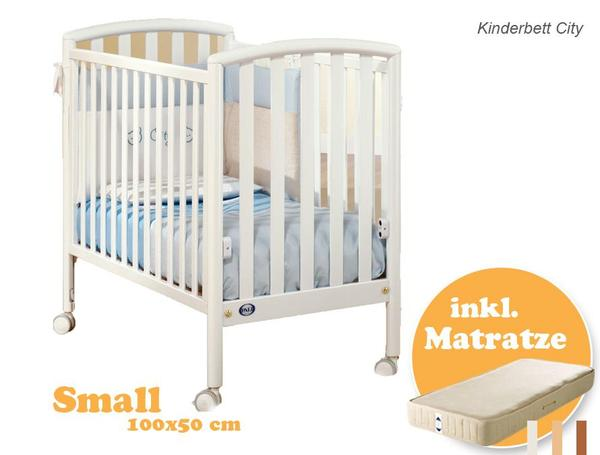 kinderbett mit matratze city 100x50 cm wei massiv buche. Black Bedroom Furniture Sets. Home Design Ideas