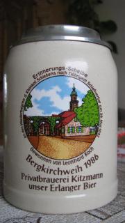Kitzmann Bierkrug Zinndeckel Bergkirchweih 1986