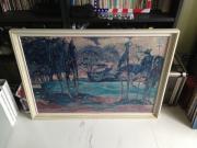 Kunstdruck Landschaft in weissem Holzrahmen