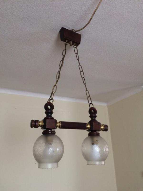 Lampe Wohnzimmer Lampe Holz mit Glas - Sachsenheim - Lampe schön und gut erhalten Nur Abholung - Sachsenheim
