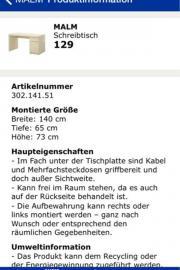 Ikea malm schreibtisch maße  Ikea Schreibtisch in Alzey - Haushalt & Möbel - gebraucht und neu ...
