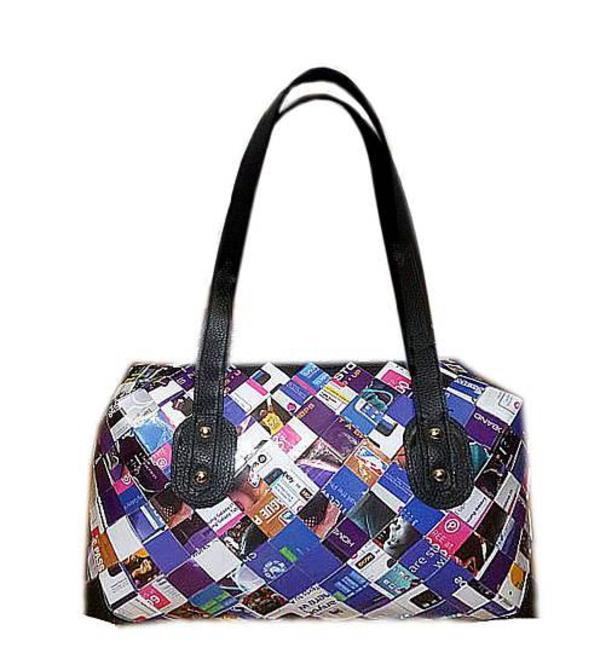 nachhaltige designer tasche aus papier candy wrapper handtasche fairtrade aus zeitungspapier. Black Bedroom Furniture Sets. Home Design Ideas