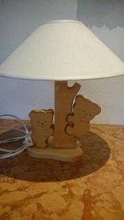 Nachttischlampe Koala Massivholz mit beigen